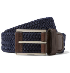 Michael Kors - 3.5cm Navy Leather-Trimmed Woven Elasticated Belt