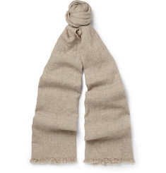 Begg & Co Kos Washed-Cashmere and Linen-Blend Scarf