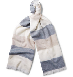 Begg & Co - Fiji Striped Cashmere, Cotton, Linen and Silk-Blend Scarf