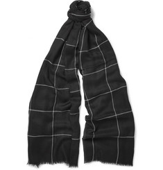 Begg & Co Windowpane-Checked Cashmere Scarf