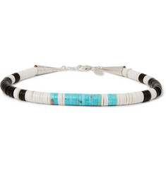 Peyote Bird - Sterling Silver, Turquoise, Jet and Shell Bracelet