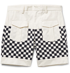 Wooster + Lardini - Checkerboard-Panelled Cotton-Twill Shorts