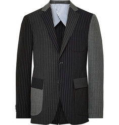 Wooster + Lardini - Black Slim-Fit Panelled Chalk-Stripe Wool Blazer