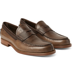 Tod's - Burnished and Pebble-Grain Leather Penny Loafers