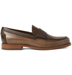 Tod's Burnished and Pebble-Grain Leather Penny Loafers