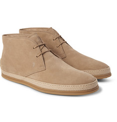 Tod's - Raffia-Trimmed Suede Chukka Boots