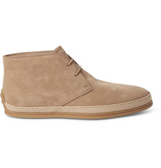 Tod's Raffia-Trimmed Suede Chukka Boots