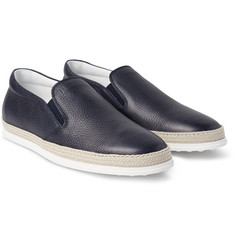 Tod's - Raffia-Trimmed Full-Grain Leather Slip-On Sneakers
