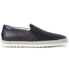 Tod's Raffia-Trimmed Full-Grain Leather Slip-On Sneakers