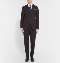 Thom Sweeney - Burgundy Slim-Fit Wool and Silk-Blend Seersucker Suit Jacket