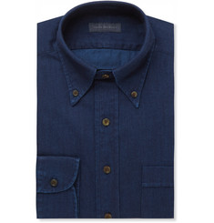 Thom Sweeney Indigo Slim-Fit Button-Down Collar Cotton-Chambray Shirt