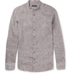 Thom Sweeney Slim-Fit Grandad-Collar Slub Linen Shirt