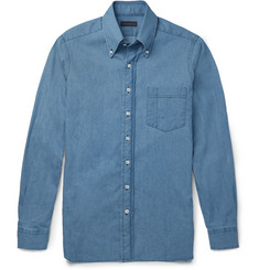 Thom Sweeney Button-Down Collar Denim Shirt