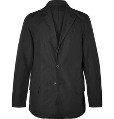 Our Legacy Black Washed Linen and Cotton-Blend Blazer