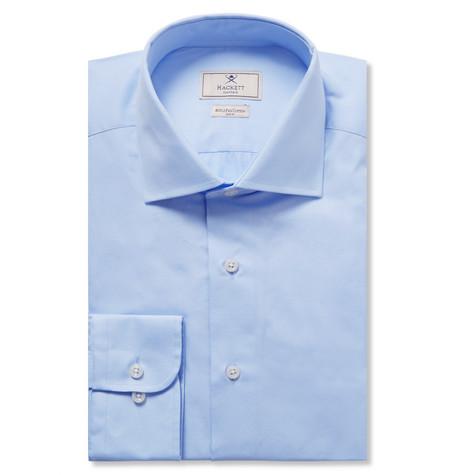 HACKETT Mayfair Slim-Fit Cutaway-Collar Micro-Gingham Cotton Shirt in Blue