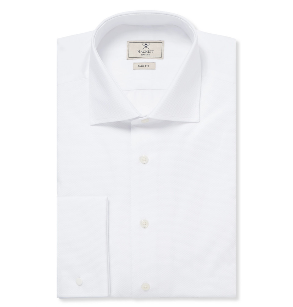 Hackett White Mayfair Cotton Tuxedo Shirt