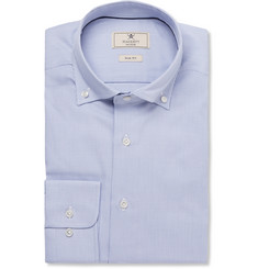 Hackett Blue Button-Down Collar Puppytooth Cotton Shirt