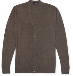 Hackett Elbow Patch Merino Wool Cardigan