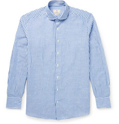 Hackett Mayfair Slim-Fit Striped Cotton and Linen-Blend Shirt