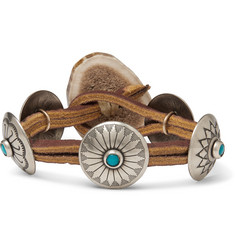 Yuketen - Leather, Silver-Tone, Horn and Turquoise Bracelet