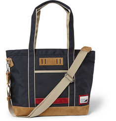 Master-Piece - Suede-Trimmed Nylon-Canvas Tote Bag