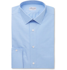 Charvet Blue Slim-Fit Checked Cotton and Linen-Blend Shirt