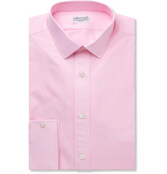 Charvet Pink Slim-Fit Striped Cotton and Linen-Blend Shirt