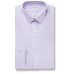 Charvet Lavender Slim-Fit Striped Cotton and Linen-Blend Shirt