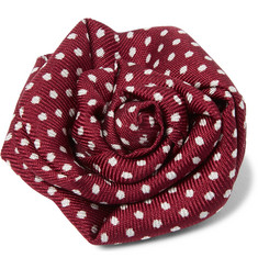 Charvet Polka-Dot Silk-Faille Flower Lapel Pin