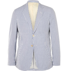 Gant Rugger - Slim-Fit Striped Cotton-Seersucker Blazer