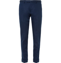 Gant Rugger - Navy Smarty Pants Slim-Fit Cotton and Linen-Blend Trousers