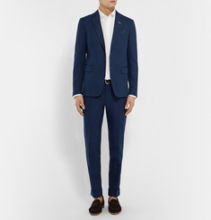 Gant Rugger Navy Smarty Pants Slim-Fit Cotton and Linen-Blend Trousers