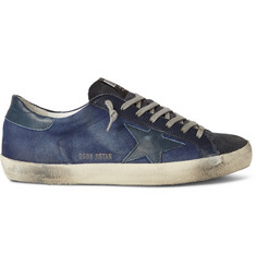 Golden Goose Deluxe Brand Superstar Distressed Denim, Leather and Suede Sneakers