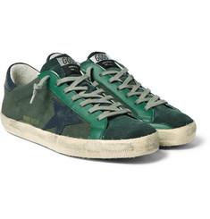 Golden Goose Deluxe Brand - Superstar Distressed Leather-Trimmed Canvas Sneakers