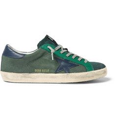 Golden Goose Deluxe Brand Superstar Distressed Leather-Trimmed Canvas Sneakers
