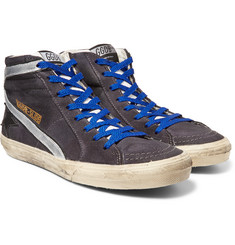 Golden Goose Deluxe Brand - Distressed Suede and Metallic Leather High-Top Sneakers
