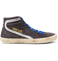 Golden Goose Deluxe Brand Distressed Suede and Metallic Leather High-Top Sneakers