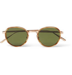 Bottega Veneta Round-Frame Intrecciato Metal and Acetate Sunglasses