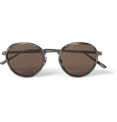 Bottega Veneta Round-Frame Intrecciato Titanium and Acetate Sunglasses
