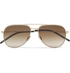 Saint Laurent Classic 11 Aviator-Style Gold-Tone Sunglasses