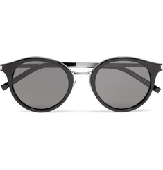 Saint Laurent Round-Frame Acetate and Silver-Tone Sunglasses