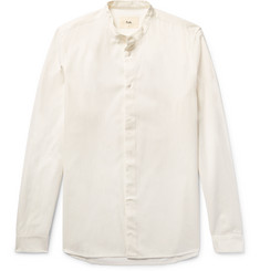 Folk Grandad-Collar Cotton Shirt