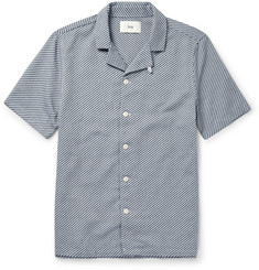 Folk Camp-Collar Cotton-Jacquard Shirt