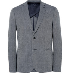 Folk - Storm-Blue Slim-Fit Birdseye Cotton and Linen-Blend Blazer