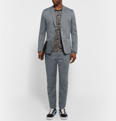 Folk Storm-Blue Slim-Fit Birdseye Cotton and Linen-Blend Blazer