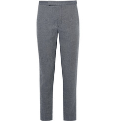 Folk Storm-Blue Slim-Fit Birdseye Cotton and Linen-Blend Trousers