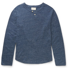 Oliver Spencer Button-Detailed Mélange Cotton T-Shirt