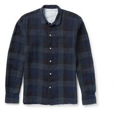 Officine Generale Penny-Collar Checked Linen Shirt