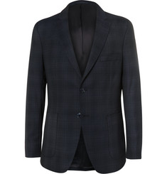 Officine Generale Navy Slim-Fit Checked Wool Blazer