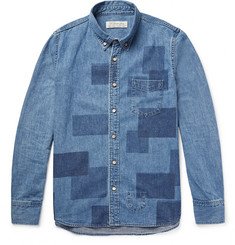Remi Relief Slim-Fit Patchwork-Effect Denim Shirt